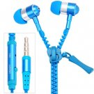 Portable Zipper Style High Fidelity Sound 1.2M Earphone with Mic for Smart Phones( blue)