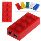 Compact USB Rechargeable Blocks Shape MP3 Player - Red