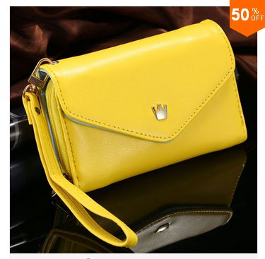 Pouch Wallet PU Leather Case for iphone 4s, 5s, 6 4.7inch, 5C, for Samsung Galaxy S3 S4 S5 (yellow