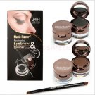 4 in 1 Eye Makeup Set Gel Eyeliner Brown + Black Eyebrow Powder Brown + Black Make Up Waterproof