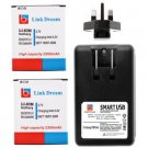 Link Dream Two 3.7V 2300mAh Replacement Batteries and AC 100 - 240V Input  Battery Charger