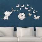 Elephants play Butterfly Sticker DIY Mirror Wall Clock Wall Sticker Home