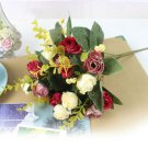 1 Bouquet 21Head Artificial Peony Silk Flower Leaf Home Party Wedding Decoration (color red