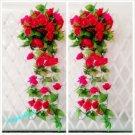 1x Artificial Fake Silk Rose Flower Ivy Vine Hanging Garland Wedding Decor