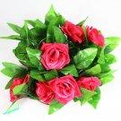 1x Artificial Fake Silk Rose Flower Ivy Vine Hanging Garland Wedding Decor ( red