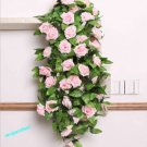 1x Artificial Fake Silk Rose Flower Ivy Vine Hanging Garland Wedding Decor ( light pink