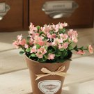 1 Pc Mini Country Lily Artificial Silk Flower Potted Plant Home Floral Decor (COLOR PINK