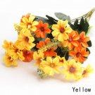 3 X Bouquet Artificial Cineraria Silk Flowers Leaf Home Party Wedding Garden Decor (COLOR YELLOW