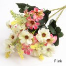 3 X Bouquet Artificial Cineraria Silk Flowers Leaf Home Party Wedding Garden Decor (COLOR PINK