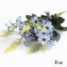 3 X Bouquet Artificial Cineraria Silk Flowers Leaf Home Party Wedding Garden Decor (COLOR BLUE
