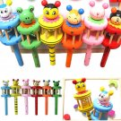 1x Cartoon Animal Wooden Handbell Jingle Rattle Toy Musical Instrument For Baby Kid