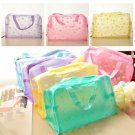 1pc Floral Print Transparent Waterproof Cosmetic Bag Toiletry Bathing Pouch Hot