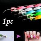 1pc Cool Nail Art Dotting Marbleizing Paint Pen Nail Tips Beauty Salon Tool