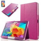 """PU Leather Folio Case Stand Cover For Samsung Galaxy Tab 4 10.1"""" SM-T530 Tablet(COLOR HOT PINK"""