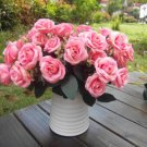 Artificial 1 Bouquet / 12 Heads Silk Rose Flower Leaf Wedding Party Bridal Decor(HOT PINK