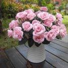 Artificial 1 Bouquet / 12 Heads Silk Rose Flower Leaf Wedding Party Bridal Decor(LIGHT PINK