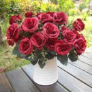Artificial 1 Bouquet / 12 Heads Silk Rose Flower Leaf Wedding Party Bridal Decor(COLOR RED