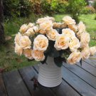 Artificial 1 Bouquet / 12 Heads Silk Rose Flower Leaf Wedding Party Bridal Decor(COLOR CHAMPAGNE