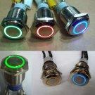 1X 12V 16mm Car Boat DIY Push Power Button LED Angel Eye Switch Latching Metal Hot