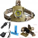 CREE XML T6 3Mode 2000 LM Camouflage Rechargeable Headlight Headlamp +2x18650+CH