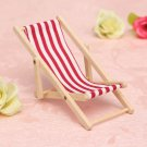 Pink Dolls House 1:12 Miniature Foldable Wooden Deckchair Lounge Beach Chair