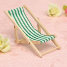 GREEN Dolls House 1:12 Miniature Foldable Wooden Deckchair Lounge Beach Chair
