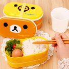 2 Tier Rilakkuma Relax Bear Lunch Box Bento High Heat Resistance Free Chopsticks