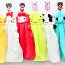 6x Nursery Hand Towel Soft Plush Fabric Cartoon Animal Hanging Wipe Bathing TowelSH
