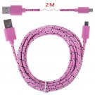 2M Hemp Rope Micro USB Charger Charging Sync Data Cable Cord fr Cell Phone(COLOR PINK