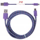2M Hemp Rope Micro USB Charger Charging Sync Data Cable Cord fr Cell Phone(COLOR PURPLE