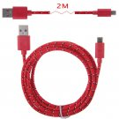 2M Hemp Rope Micro USB Charger Charging Sync Data Cable Cord fr Cell Phone(COLOR RED