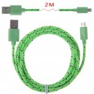2M Hemp Rope Micro USB Charger Charging Sync Data Cable Cord fr Cell Phone(COLOR GRASS GREEN