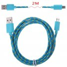 2M Hemp Rope Micro USB Charger Charging Sync Data Cable Cord fr Cell Phone(COLOR GRASS BLUE