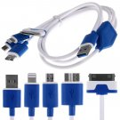 4in1 Micro USB Charger Charging Cable for iPhone 6 5 5S iPod Samsung S4 HTC LG(COLOR BLUE