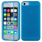 TPU Wrap Up Flip Case Cover w/ Built in TOUCH Screen Protector for iPhone 5 5S( COLOR BLUE