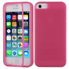TPU Wrap Up Flip Case Cover w/ Built in TOUCH Screen Protector for iPhone 5 5S( COLOR ROSE
