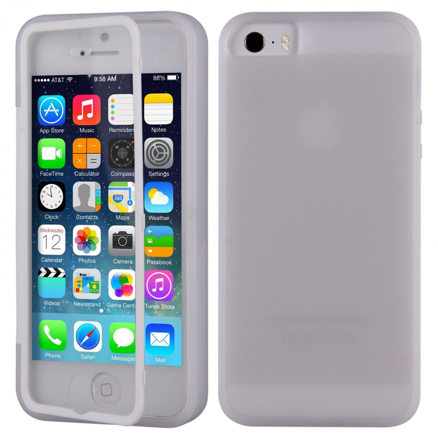 TPU Wrap Up Flip Case Cover w/ Built in TOUCH Screen Protector for iPhone 5 5S( COLOR CLEAR WHITE