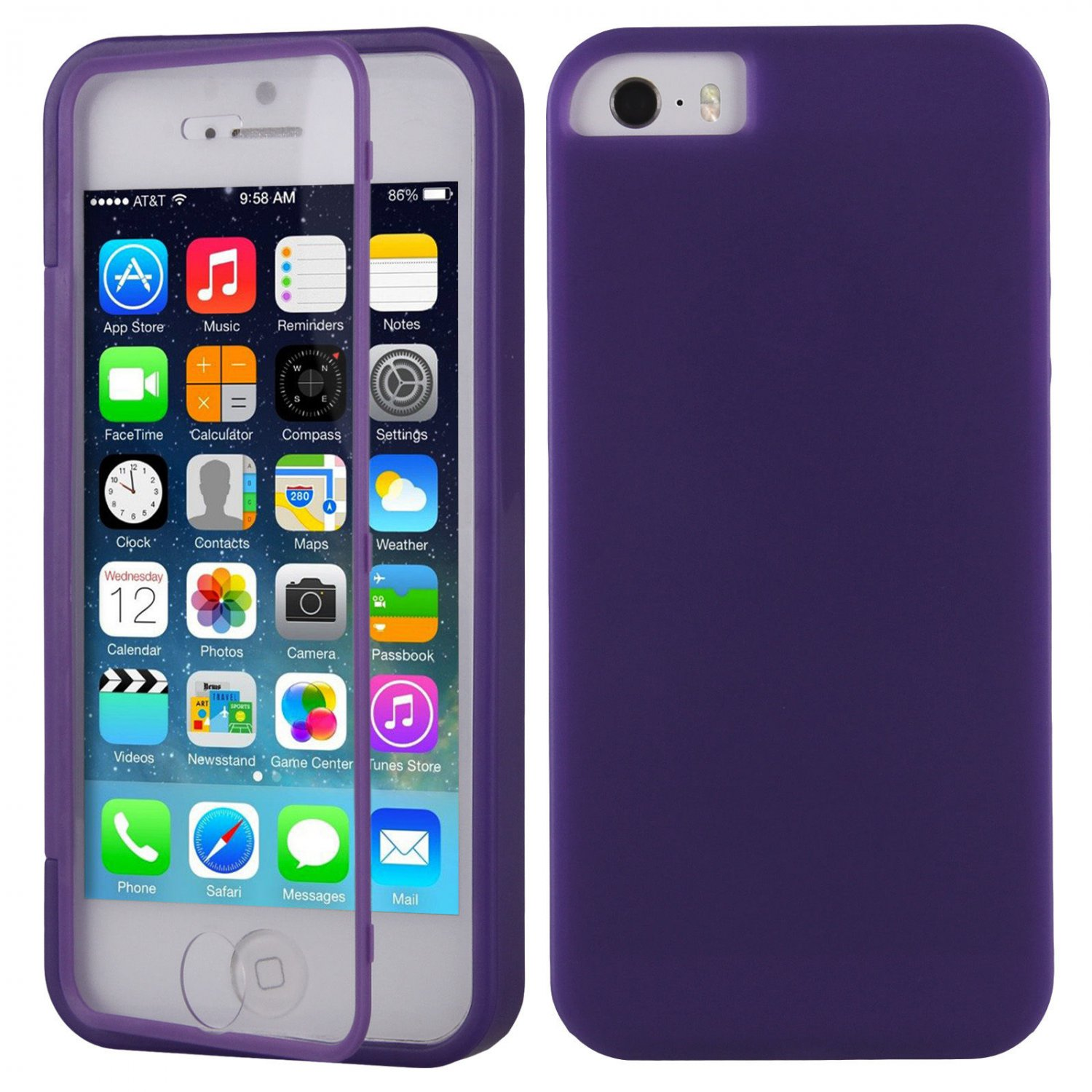 TPU Wrap Up Flip Case Cover w/ Built in TOUCH Screen Protector for iPhone 5 5S( COLOR PURPLE