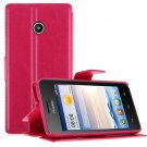 Wallet Card Holder Flip PU Leather Stand Case Cover Pouch for Huawei Ascend Y330 ( COLOR ROSE