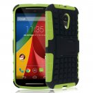 Hybrid Impact Armor Hard Stand Case Cover For Motorola Moto G2 2nd 2014 XT10681000 (COLOR GREEN