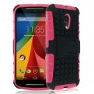 Hybrid Impact Armor Hard Stand Case Cover For Motorola Moto G2 2nd 2014 XT10681000 (COLOR ROSE
