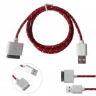 1M Braided USB Sync Data Charging Charge Cable Cord for iPhone 4 4G 4S iPod( COLOR RED