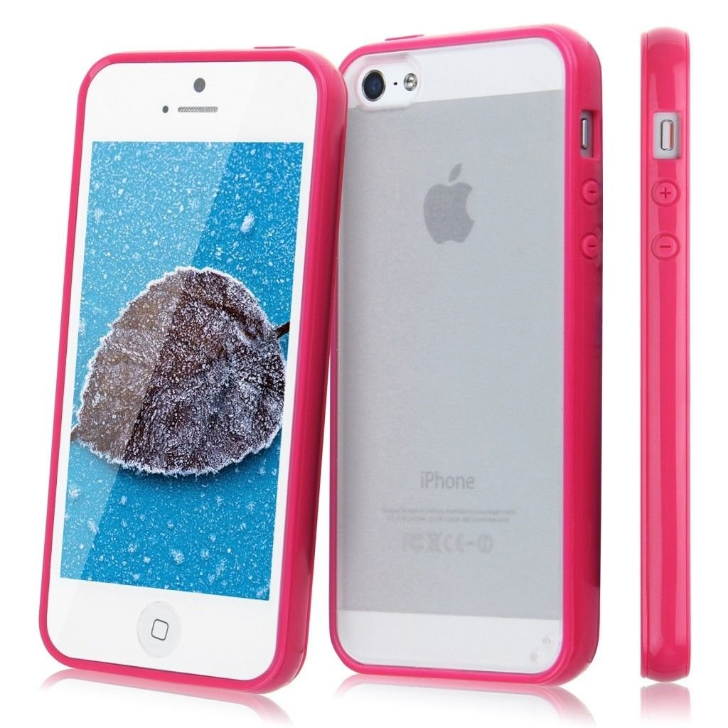 TPU Bumper Frame Matte Frosted Clear Back Cover Hard PC Case for iPhone 5 5G 5S( COLOR  ROSE