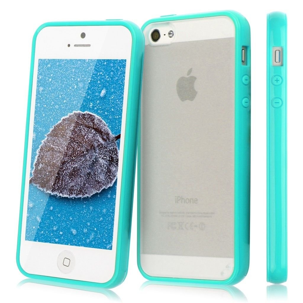 TPU Bumper Frame Matte Frosted Clear Back Cover Hard PC Case for iPhone 5 5G 5S( COLOR  TURQUOISE