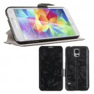 Magnetic Flip PU Leather Case Stand Cover Skin Pouch for Samsung Galaxy S5 G900 (COLOR BLACK