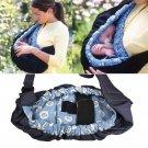 Baby Newborn Infant Adjustable Carrier Sling Wrap Rider Cotton Backpack (blue flower)