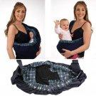 Baby Newborn Infant Adjustable Carrier Sling Wrap Rider Cotton Backpack (blue plaid)