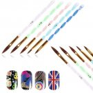 Nail Art 5pcs Carving Pen Brush size 2/4/6/8/10 For Acrylic UV Gel Kit Set