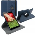 """360 Rotating Folio Leather Case Cover Stand for LG G Pad Gpad 8.3"""" V500 Tablet( color dark blue"""