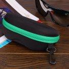 Portable Zipper Eye Glasses Sunglasses Shell Hard Case Protector Box (GREEN